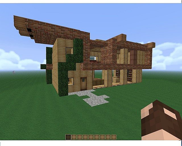 Modern house attempt one minecraft project for Modern house front view