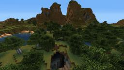 Seed • Massive mountain pass looming over a crater dropping into one of two double ravines both with dungeons inside. Minecraft Blog