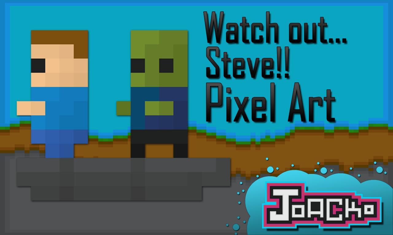 watch out steve pixel art minecraft blog