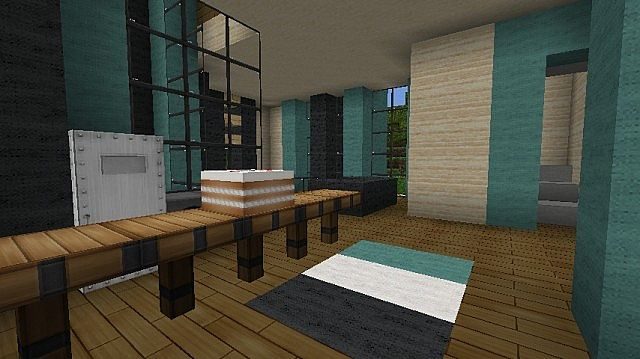 Modern Rayless Cyan Villa 2 Floor Home Minecraft Project