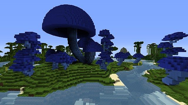 New mushrooms and trees with custom blocks.