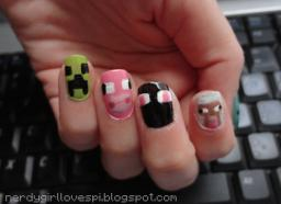 Minecraft Nail Art {Updated with Tutorials}