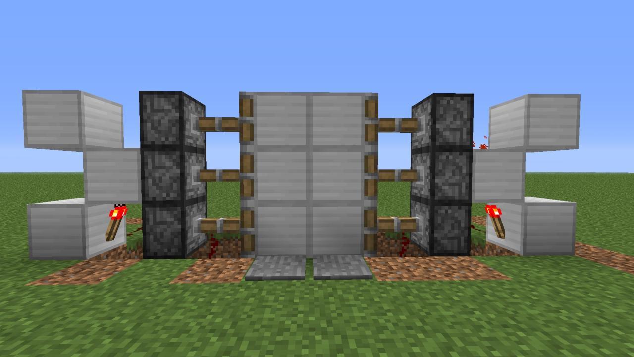 Simple piston door minecraft project for 10 ways to make a secret door in minecraft