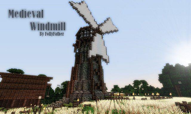 Medieval Windmill W Wheat Field Barn
