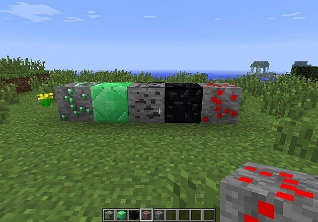 diamond ore, diamond block, iron ore, iron block and emerald ore
