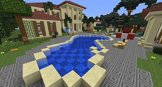 Mansion With Swimming Pool modern mansion with awesome swimming pool minecraft project