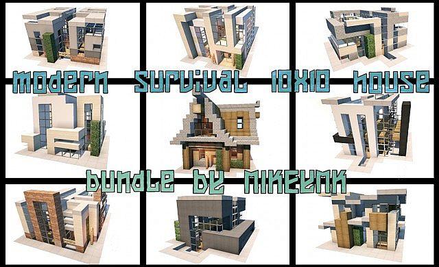 . modern survival 10x10 house bundle   9 houses Minecraft Project