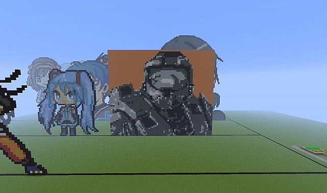 Master Chief Pixel Art Minecraft Project