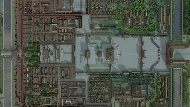 3D render of a section of the Forbidden City area.