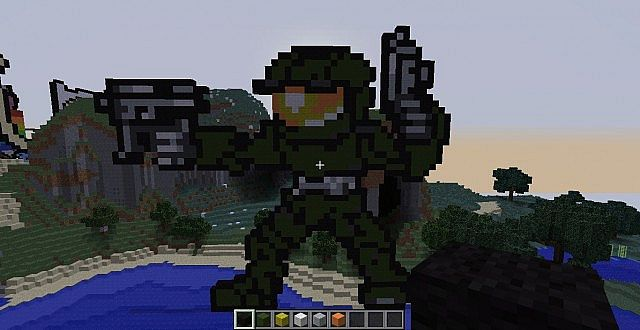 Master Chief Pixel Art Minecraft Project