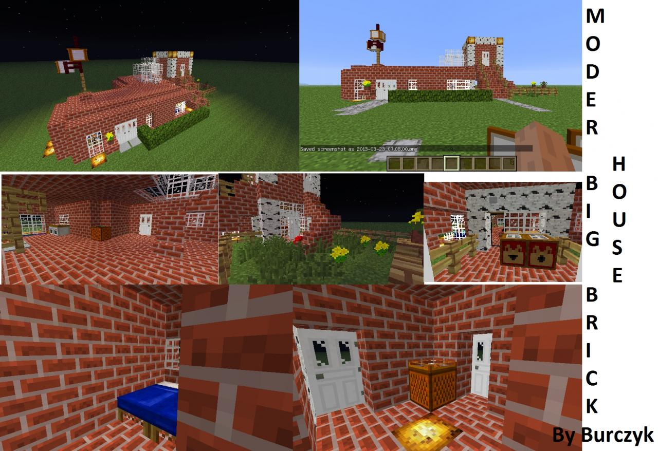 Modern Houses #2-Modern Big Brick House Minecraft Project - ^