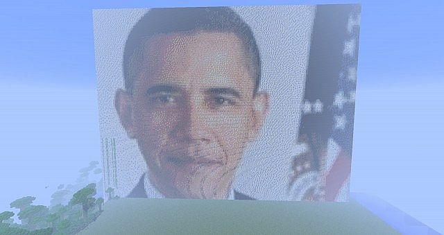 Obama Huge Pixel Art Minecraft Project