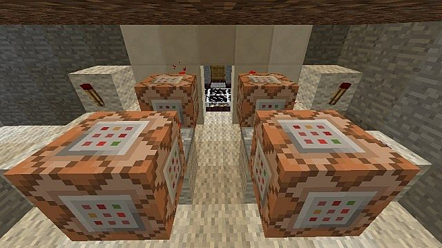 Some of the many command blocks in the map