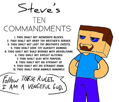 Steves 10 Commandments Minecraft Blog