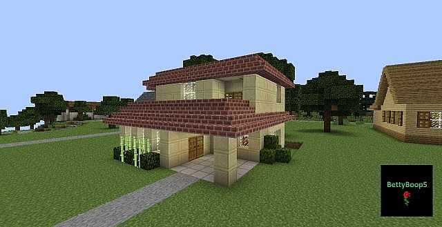 House Medium Sandstone Brick Roof Minecraft Project