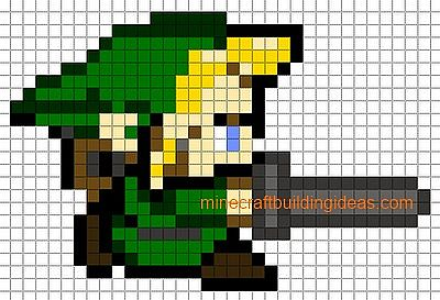 Link pixel art minecraft project for Minecraft skin template grid