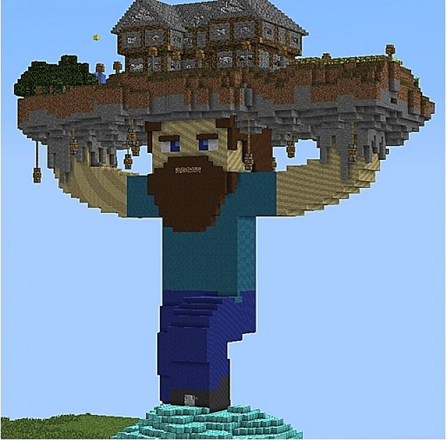 Steve holding a house minecraft project Good house map