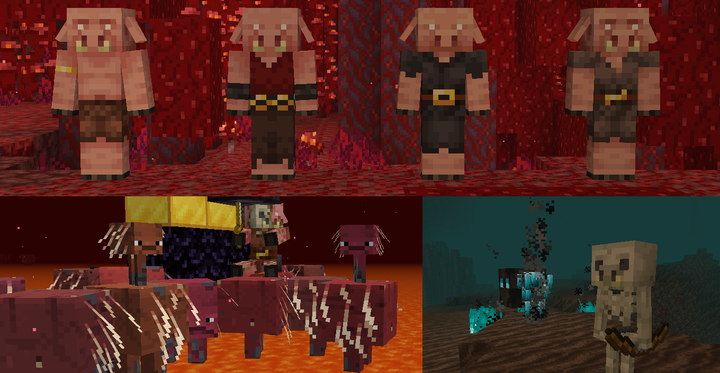 Some of the Piglin variations, Strider variation and better babies, Skeleton Piglins and biome exclusive textures!