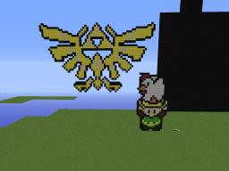 legend of Zelda Triforce and link holding a chicken Minecraft Map & Project