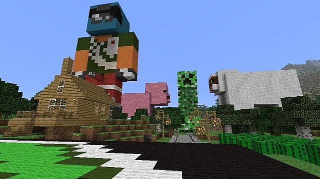 Achievement City, jacks House, Pig, Sheep And Creeper