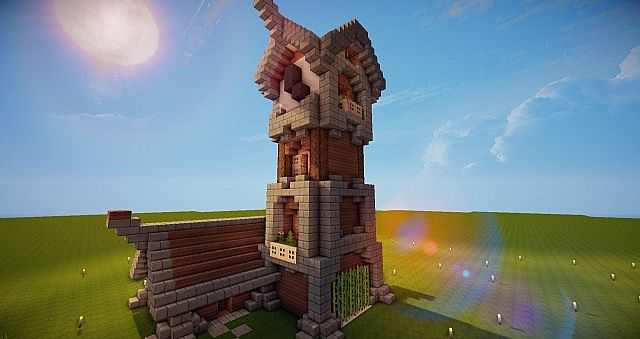 Medieval Clock Tower Minecraft Medieval Clocktower and House