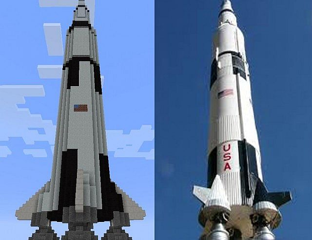 Saturn V to scale Schematic Minecraft Project