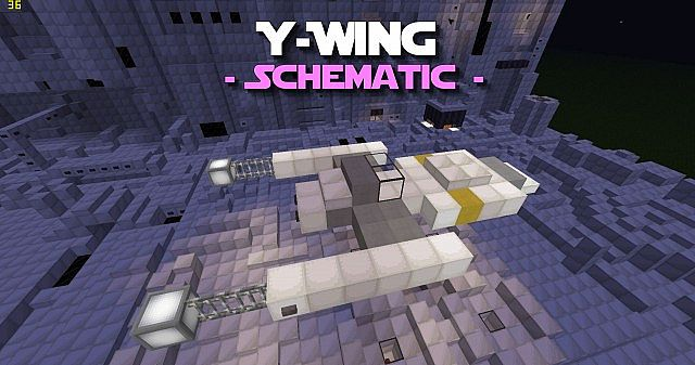 ywing schematic  pd's star wars colletion minecraft project, schematic