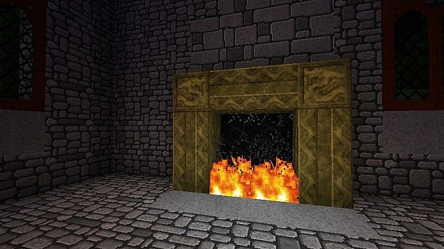 Showing off the gold block mantle at the castle