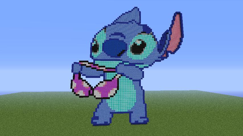 Pixel art of stitch holding a bra Minecraft Project