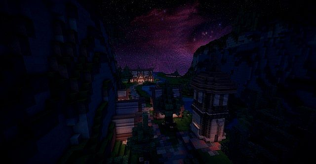 Really dark picture of a small village part.