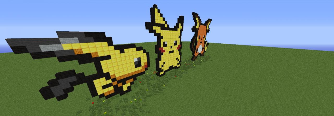 Pixel Art Pikachu Family Minecraft Project