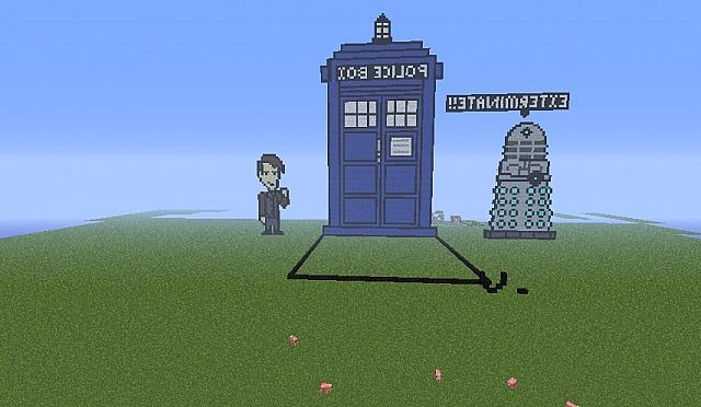 Doctor Who Tardis And Dalek Pixel Art Minecraft Project