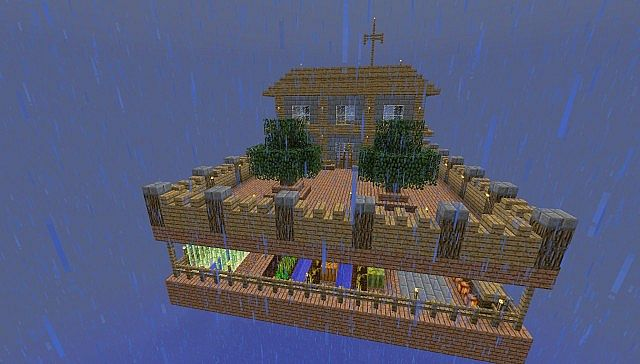 old fashioned house on a floating island - matecraft minecraft project