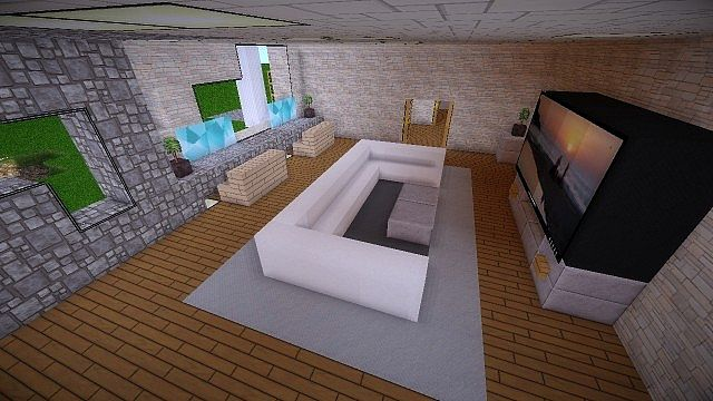 Azure a minecraft modern mansion minecraft project for Modern living room minecraft