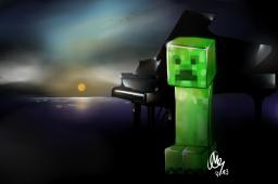 A Creeper. And a piano. *go 4 creative titles* (Painting) Minecraft Blog Post