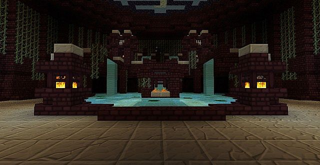 A fountain decoration in the spawn.