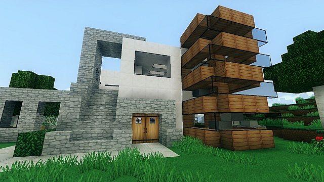 Modern house medium sized timelapse minecraft project for Medium modern house