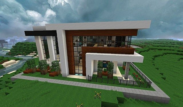 Modern house minecraft project for Cool modern house plans