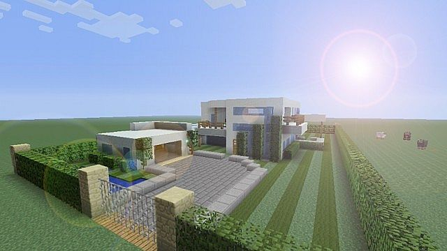 An Ultra Modern Mansion w Garden and pool Minecraft Project