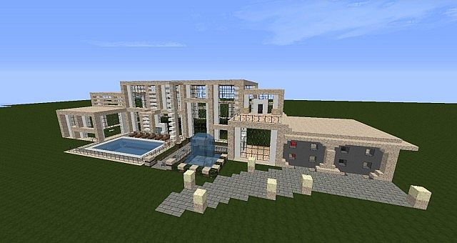 Exterior Mansion: Modern Mansion [Exterior Done] Minecraft Project