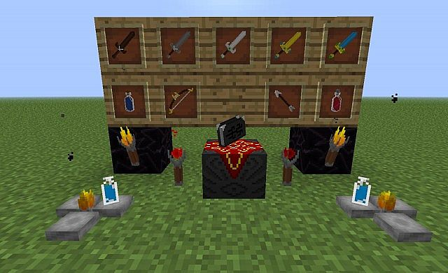 Weapons, enchanting table, brewing stands, potions and both types of torches.