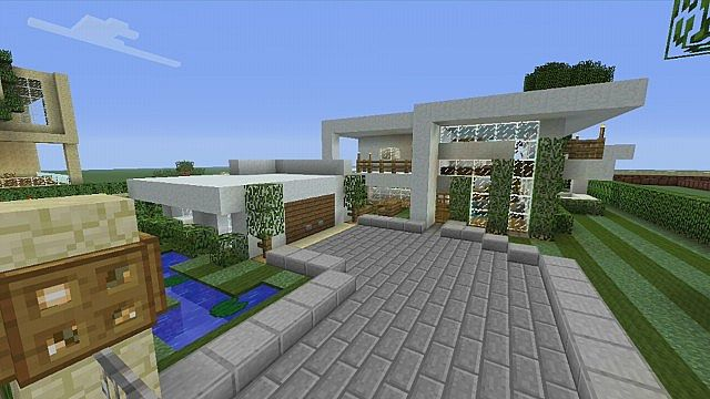 An Ultra Modern Mansion! w/ Garden and pool Minecraft Project on