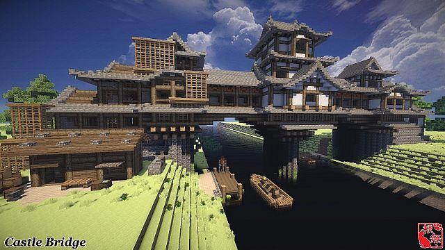 Minecraft Japanese Bridge imaginary castle bridge minecraft project