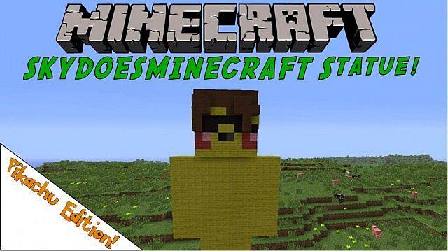 SkyDoesMinecraft Pikachu Skin Statue! Minecraft Project Skydoesminecraft Pikachu Minecraft Skin