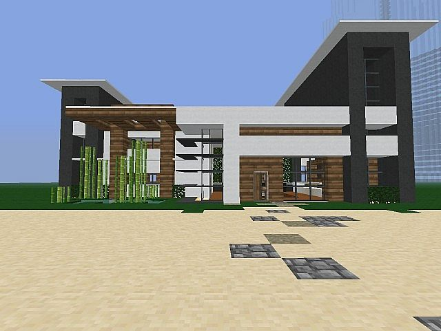Cascade modern house minecraft project for Modern house front view