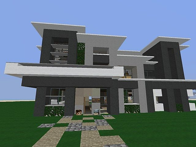 Echo modern house minecraft project for Modern house front view