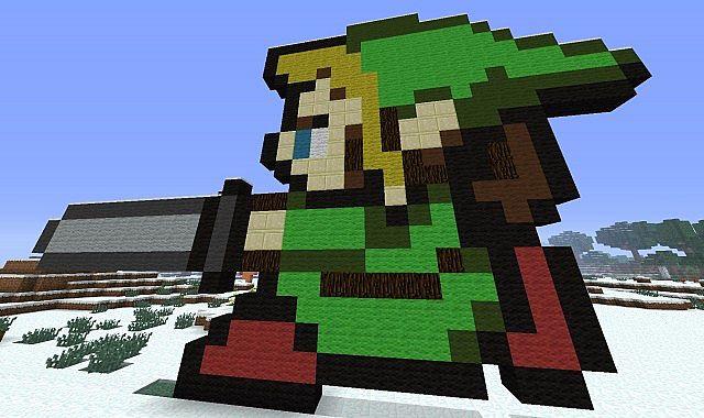 Legend of Zelda Link Pixel Art Minecraft Project
