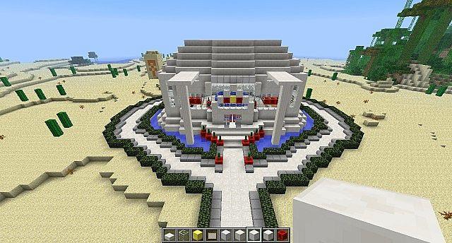 Modern Circular House Glass Quartz Minecraft Project