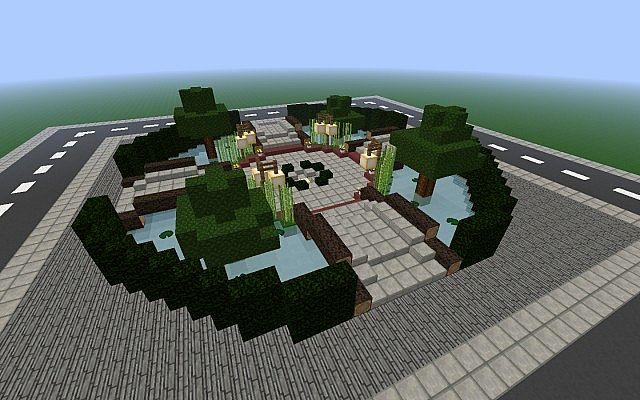 Modern Town SquarePark Landscape Schematic Minecraft Project