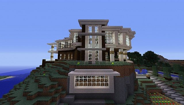 Modern quarts house on a hill minecraft project for Modern house on hill